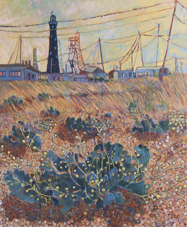 Dungeness with pylons and plants 100x120cm