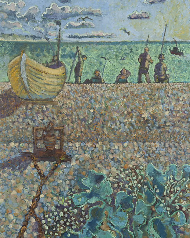 Four fishermen at Dungeness with yellow boat 80x100cm
