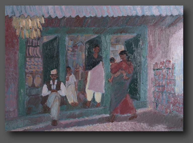 Shop in the Temple. Changa Narayan 50x70cm
