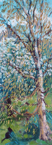 Cat and catkins 80x30cm