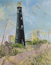 Dungeness lighthouse with running figure