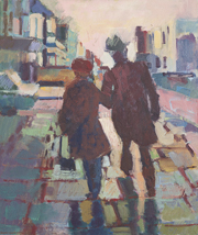 Couple walking on a rainy day 56x66cm