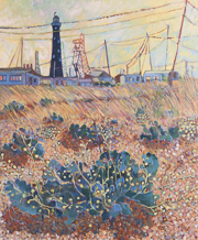Dungeness with pylons and plants 100x120