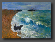 Dog Barking At The Waves 30x40cm